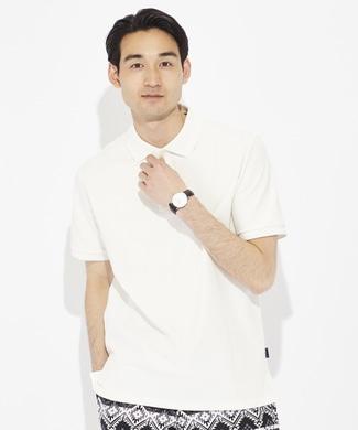BACK NUMBER 汗染み防止鹿の子ポロシャツ メンズ ホワイト