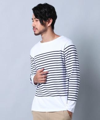 TOP SIDER パネルボーダー長袖Tシャツ メンズ ホワイト