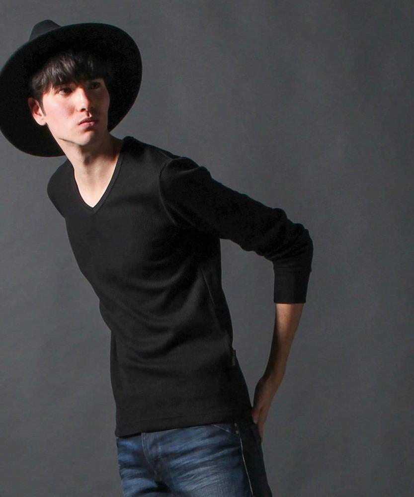 ALPHA ワッフルVネックシャツ メンズ ブラック