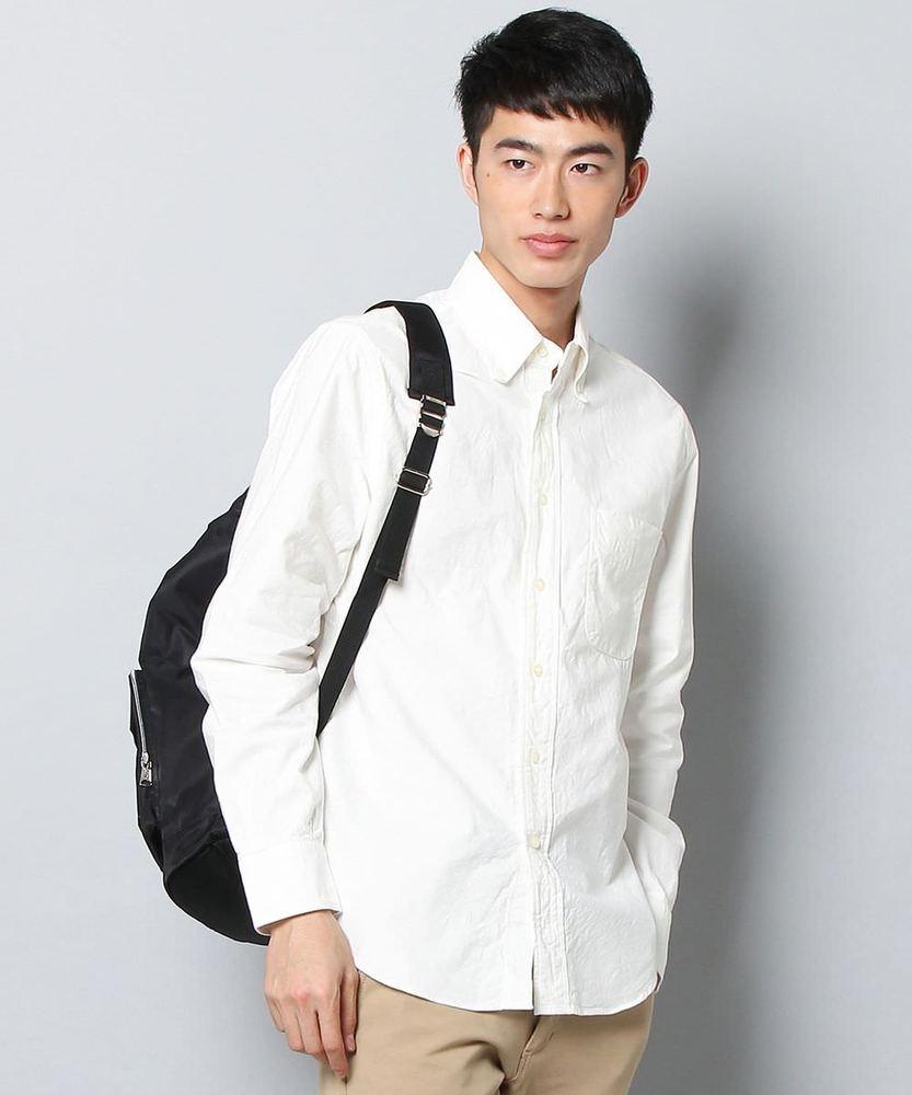 BARNS シルク混オックスフォードボタンダウンシャツ メンズ ホワイト