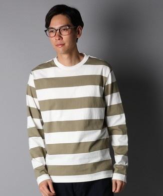 BACK NUMBER ワイドボーダーロングTシャツ メンズ オリーブ*ホワイト