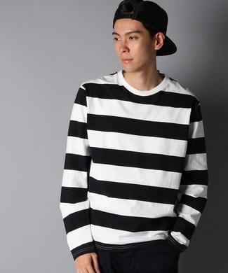 BACK NUMBER ワイドボーダーロングTシャツ メンズ ブラック*ホワイト