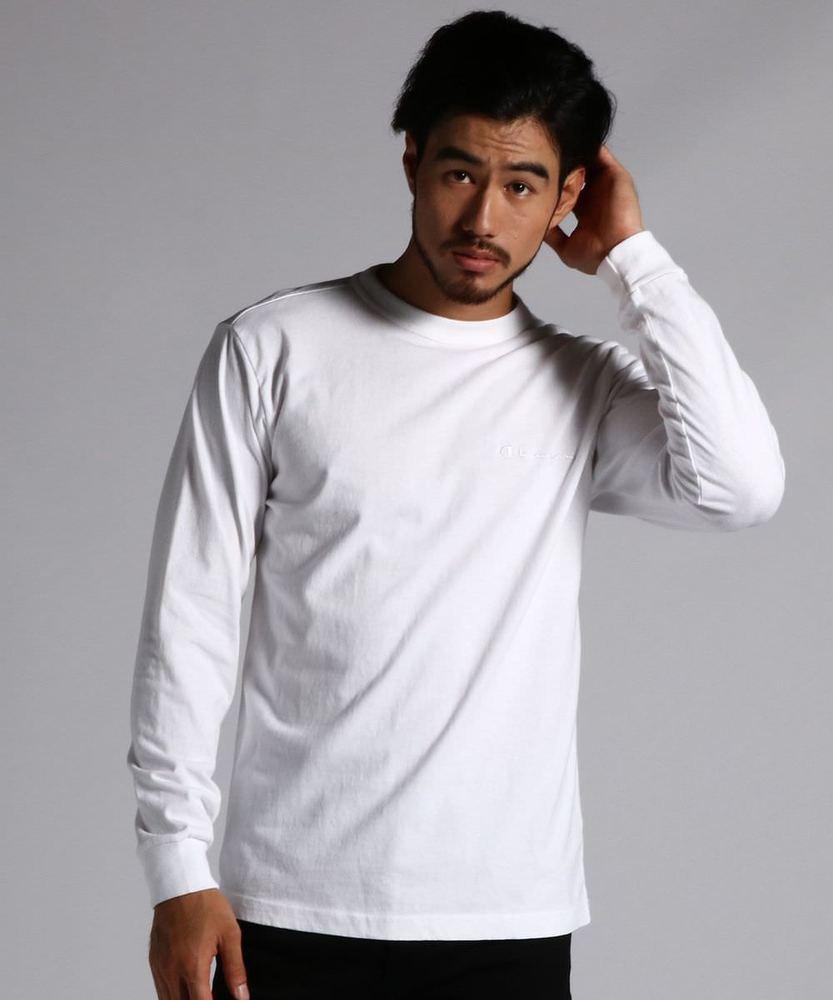 Champion プリントロングスリーブTシャツ メンズ ホワイト