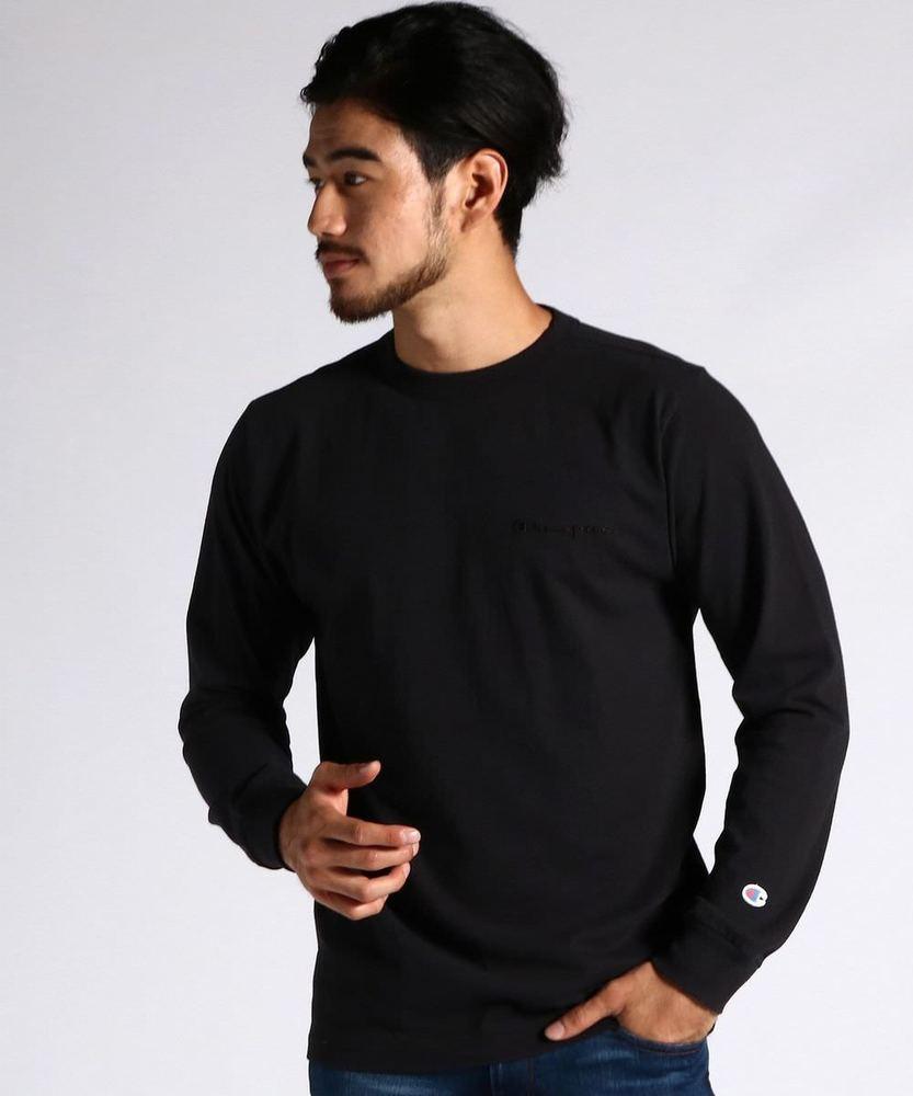 Champion プリントロングスリーブTシャツ メンズ ブラック