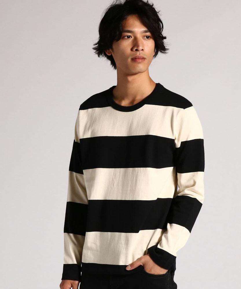 BACK NUMBER 太ボーダーロングスリーブTシャツ メンズ ブラック*ホワイト