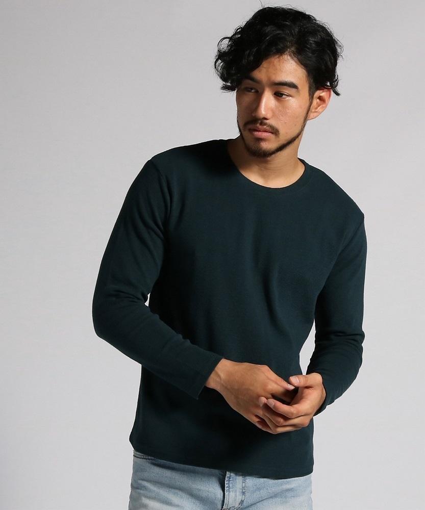 BACK NUMBER ストレッチクルーネックロングスリーブTシャツ メンズ ダークグリーン
