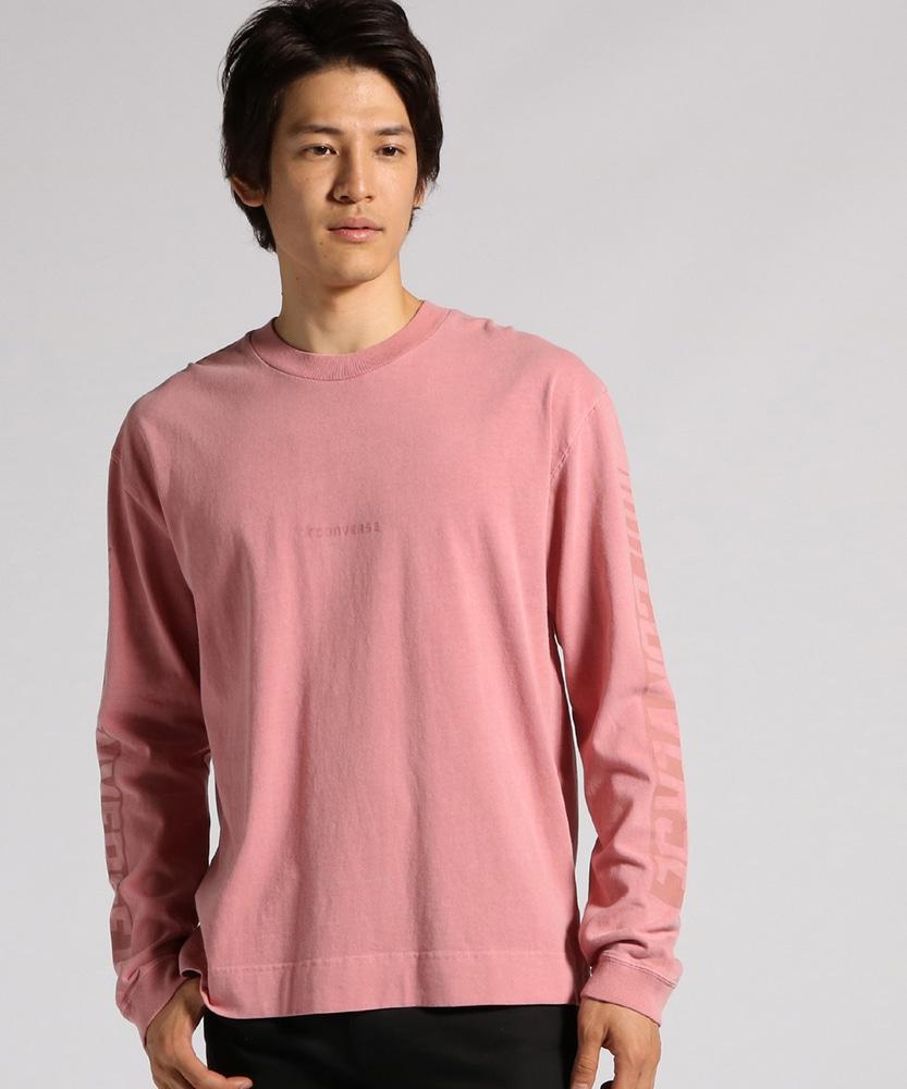 CONVERSE ピグメントロングスリーブTシャツ メンズ ピンク
