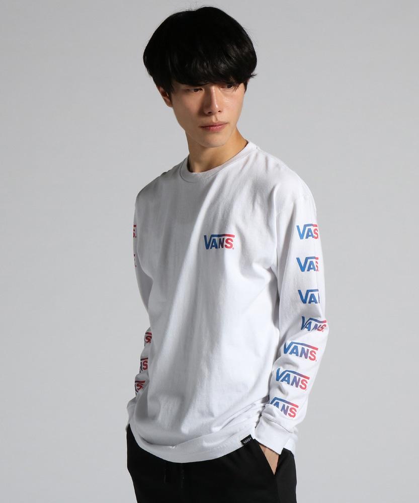 VANS グラデーションロゴプリント長袖Tシャツ メンズ ホワイト