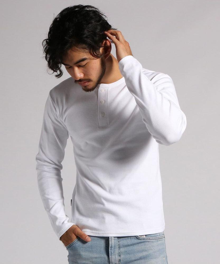 AVIREX テレコヘンリーネックロングスリーブTシャツ メンズ ホワイト