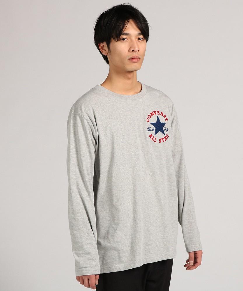 CONVERSE ロゴ入り長袖Tシャツ メンズ グレー
