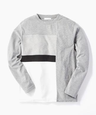 CERONIAS 異素材キリカエ長袖Tシャツ メンズ グレー