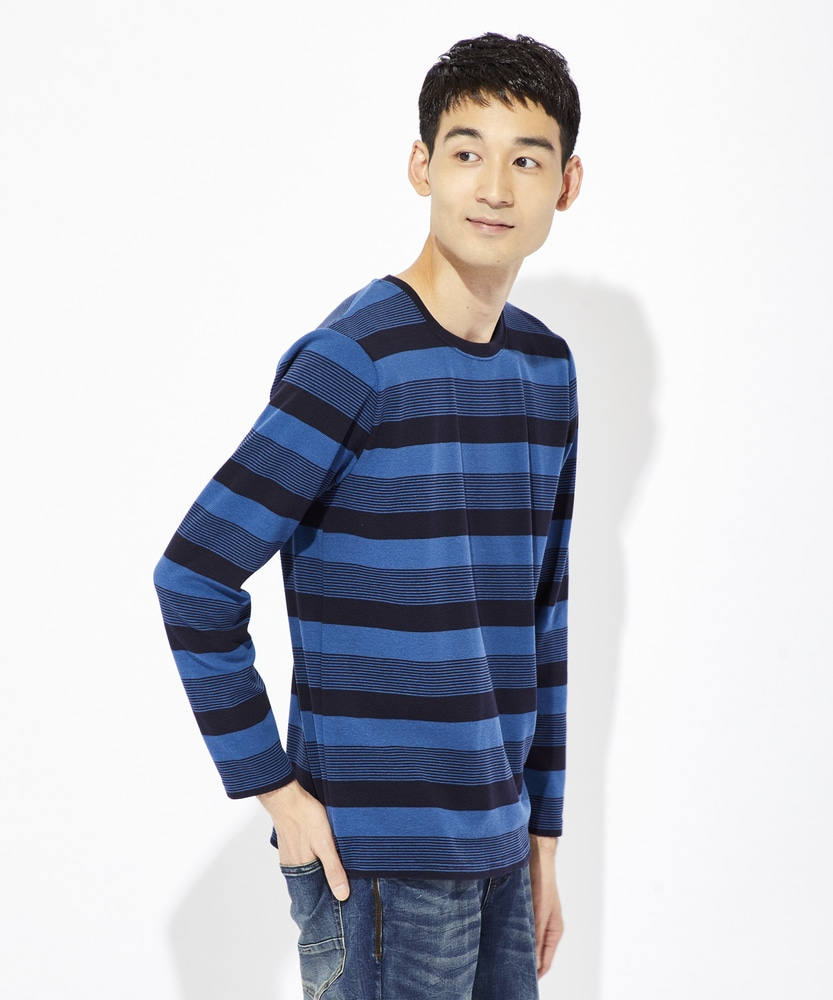 BACK NUMBER ストレッチボーダーロングTシャツ メンズ ブルー