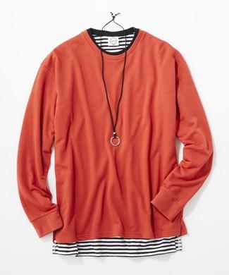 LAB アクセサリー付き アンサンブル長袖Tシャツ メンズ オレンジ