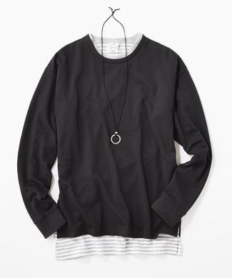 LAB アクセサリー付き アンサンブル長袖Tシャツ メンズ ブラック