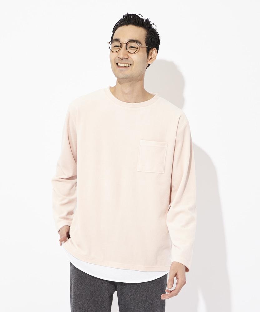 Other ベロアフェイクレイヤードロンT メンズ メンズ ピンク