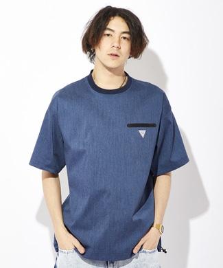 EDWIN 「F.L.E」ワンポイントロゴTシャツ メンズ ワンウォッシュ