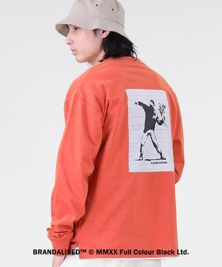 BRANDALISED アートプリントロンT バンクシー オレンジ