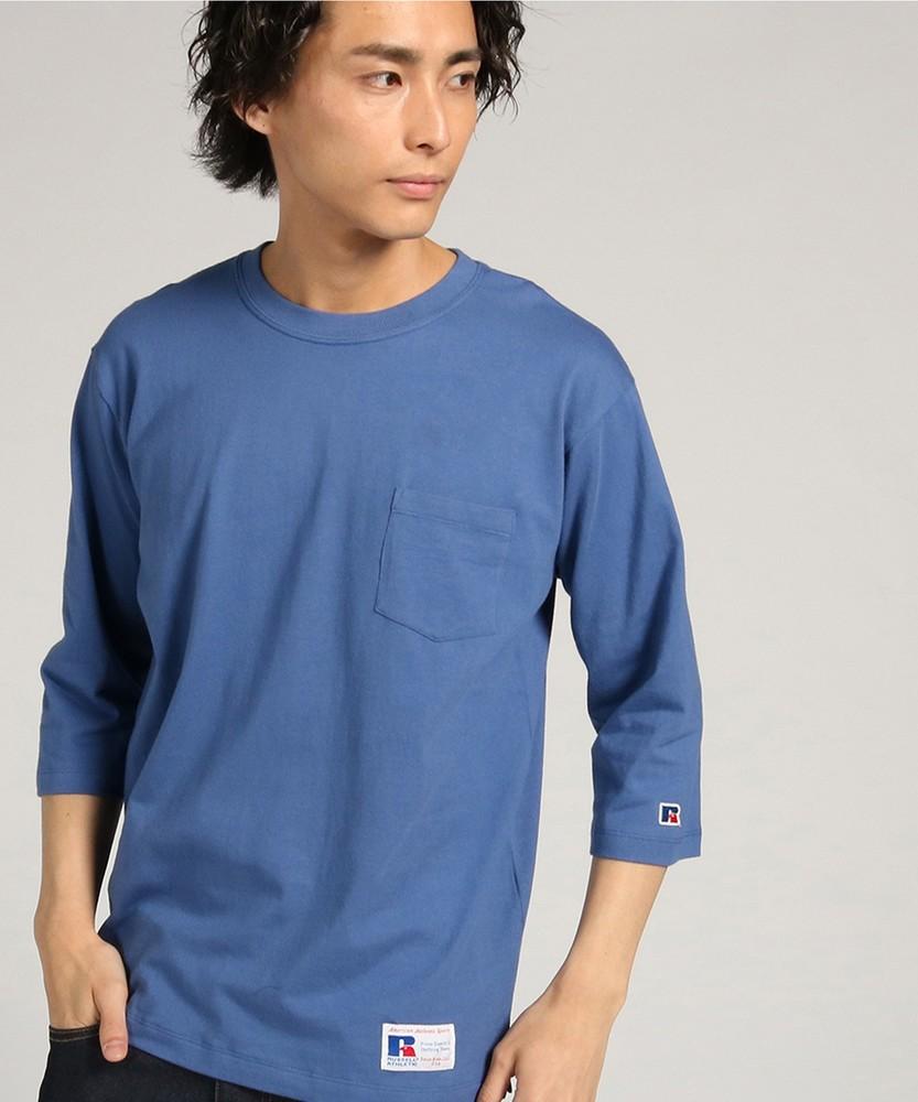 RUSSELL 「PLAINCLOTH」クルーネック7分袖Tシャツ メンズ ブルー