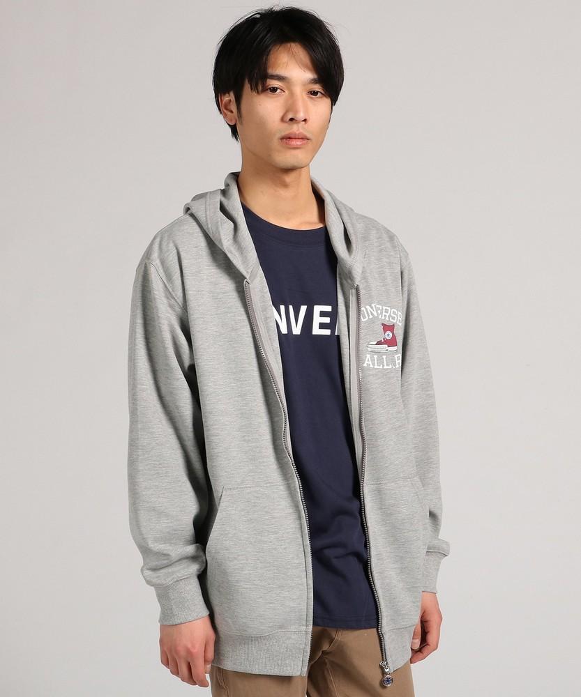 CONVERSE ロゴTシャツ&ジップパーカーアンサンブル メンズ グレー