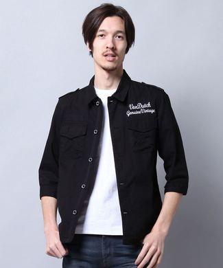 Von Dutch 7分袖ミリタリーシャツ メンズ ブラック