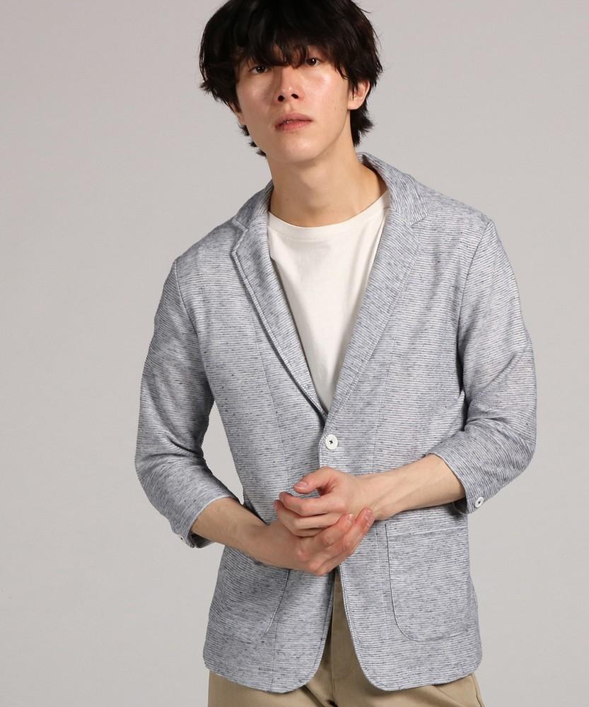CERONIAS 麻混リップル7分袖ジャケット メンズ ブルー