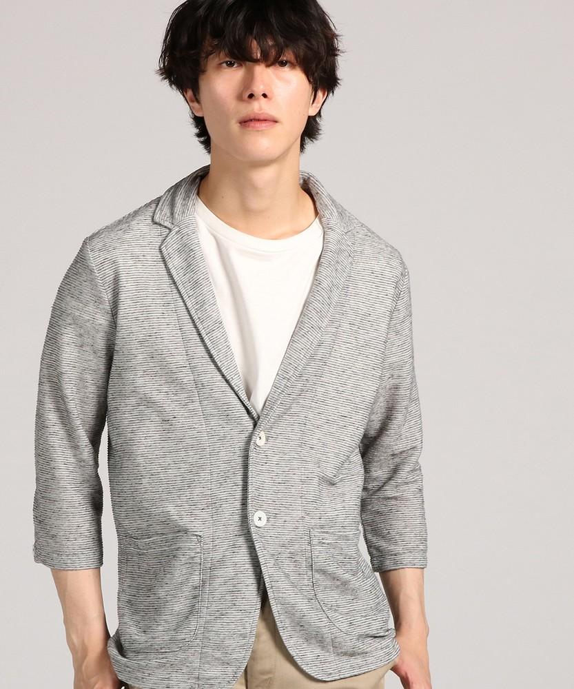 CERONIAS 麻混リップル7分袖ジャケット メンズ グレー