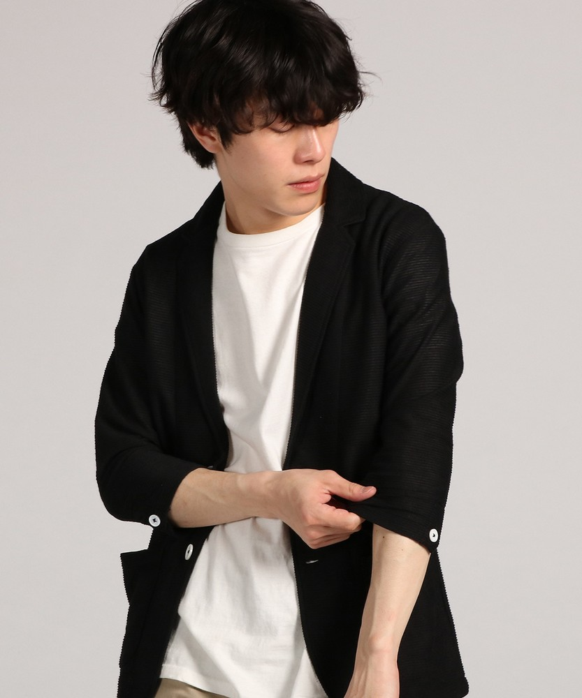 CERONIAS 麻混リップル7分袖ジャケット メンズ ブラック
