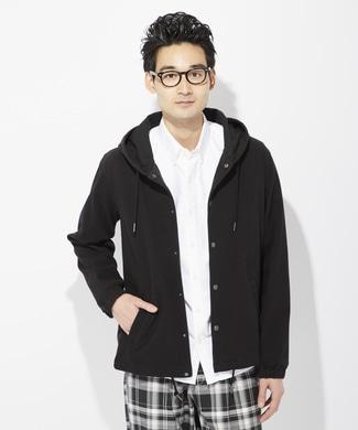 BACK NUMBER タテヨコ伸びる撥水コーチジャケット メンズ ブラック