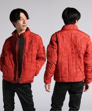 AVIREX カモフラージュ柄刺繍入りジャケット メンズ オレンジ