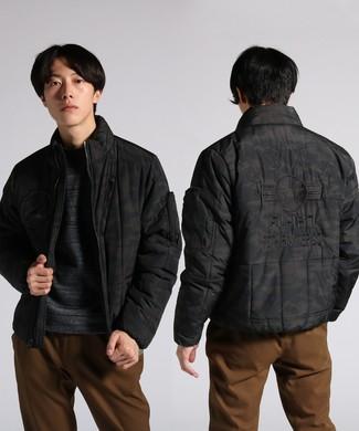 AVIREX カモフラージュ柄刺繍入りジャケット メンズ ダークグレー