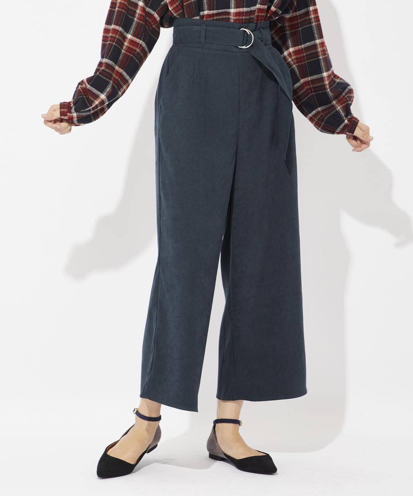 HONEYSUCKLE ROSE ベルト付き起毛ツイルワイドパンツ レディース グリーン