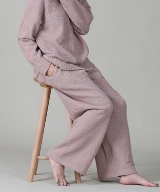 HONEYSUCKLE ROSE モコモコルームウェアワイドパンツ レディース ピンク