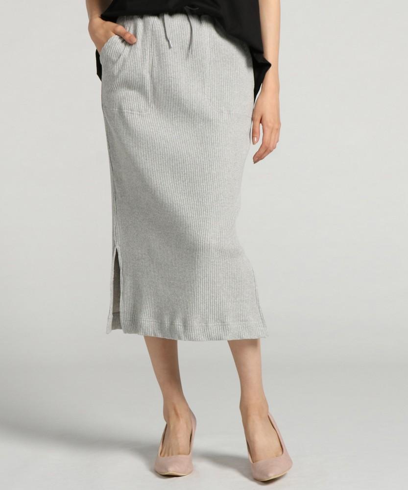 BACK NUMBER リブロングタイトスカート レディース グレー