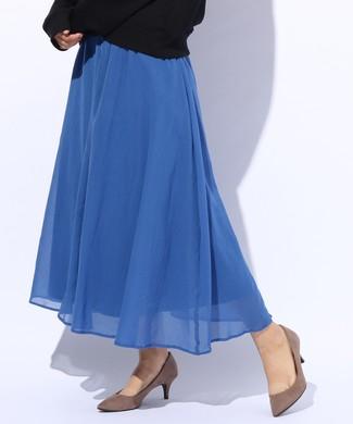 BACK NUMBER カラーロングスカート レディース ブルー