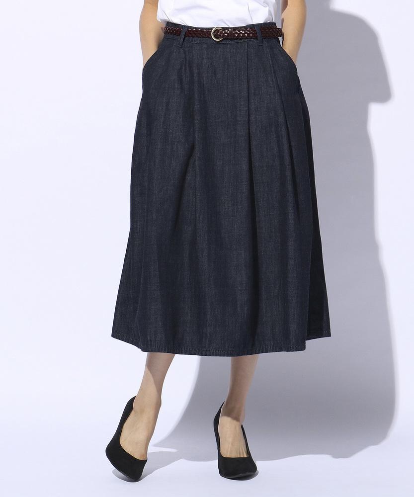 SOMETHING ベルト付きデニムスカート レディース 中濃色