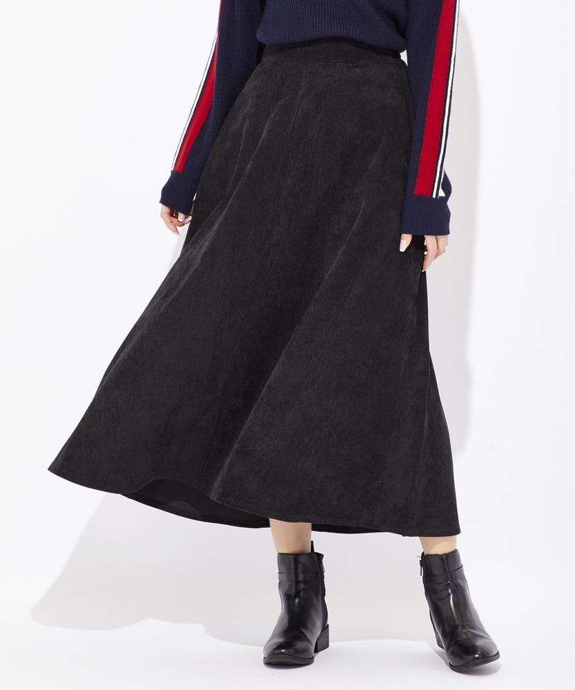 BACK NUMBER コーデュロイロングスカート レディース ブラック