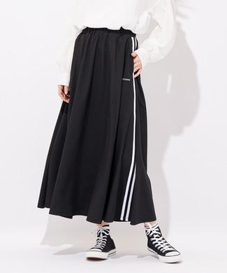 CONVERSE サイドラインロングスカート レディース ブラック