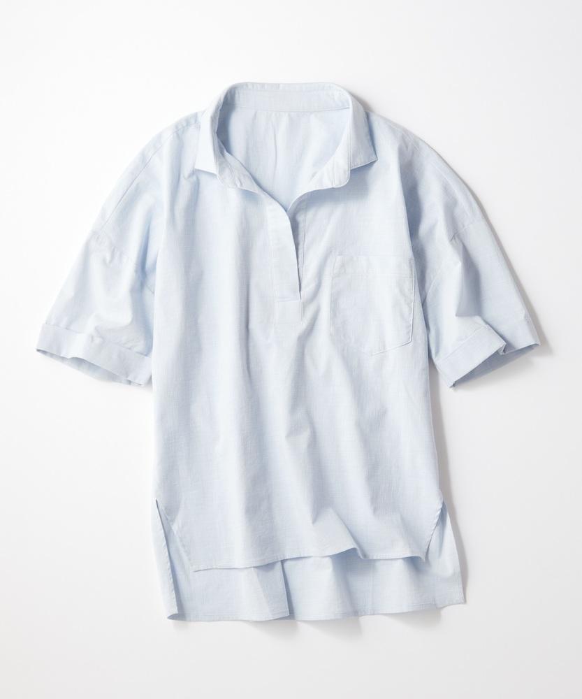 BACK NUMBER スキッパーシャツ レディース サックス