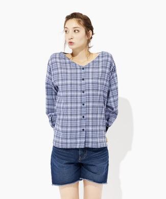 HONEYSUCKLE ROSE 2WAYチェックシャツ レディース ブルー