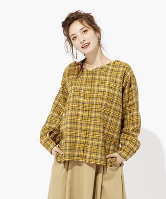 HONEYSUCKLE ROSE 2WAYチェックシャツ レディース イエロー