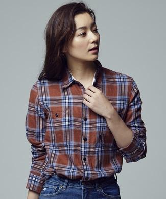 BACK NUMBER 「ウィンターリネン」 ワークチェックシャツ レディース ブラウン