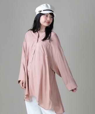 HONEYSUCKLE ROSE バンドカラーシアーシャツ レディース ピンクベージュ