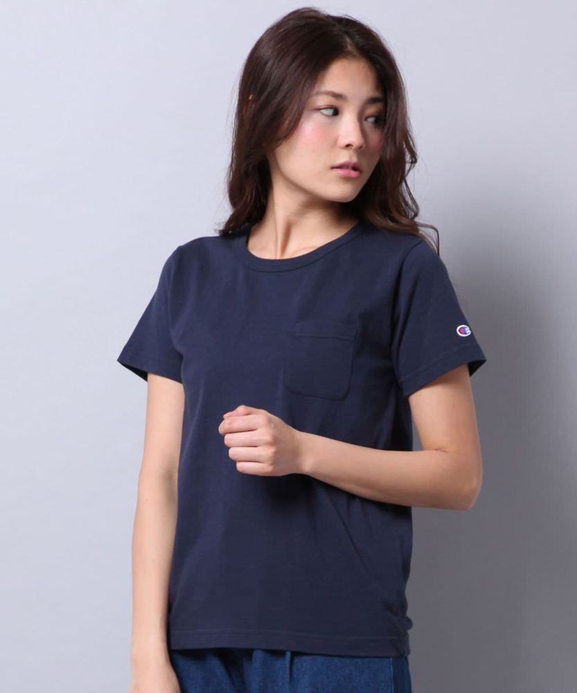 Champion 無地Tシャツ レディース ネイビー