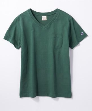 Champion 無地ポケット付きVネック半袖Tシャツ レディース ダークグリーン