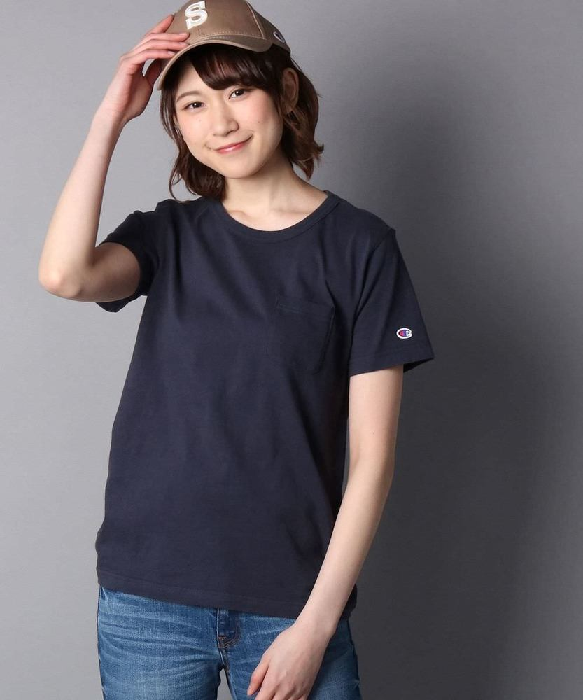 Champion ポケット付クルーネックTシャツ レディース ネイビー