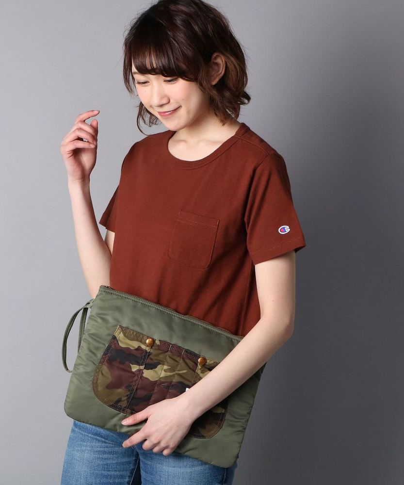 Champion ポケット付クルーネックTシャツ レディース ブラウン