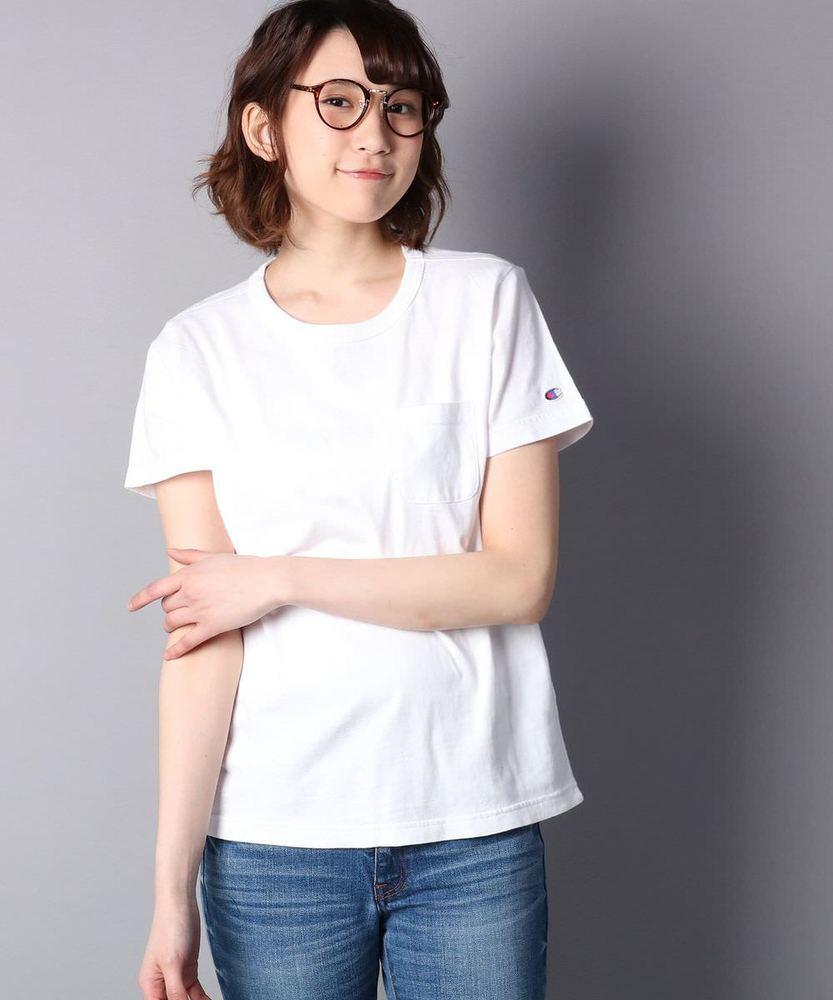 Champion ポケット付クルーネックTシャツ レディース ホワイト