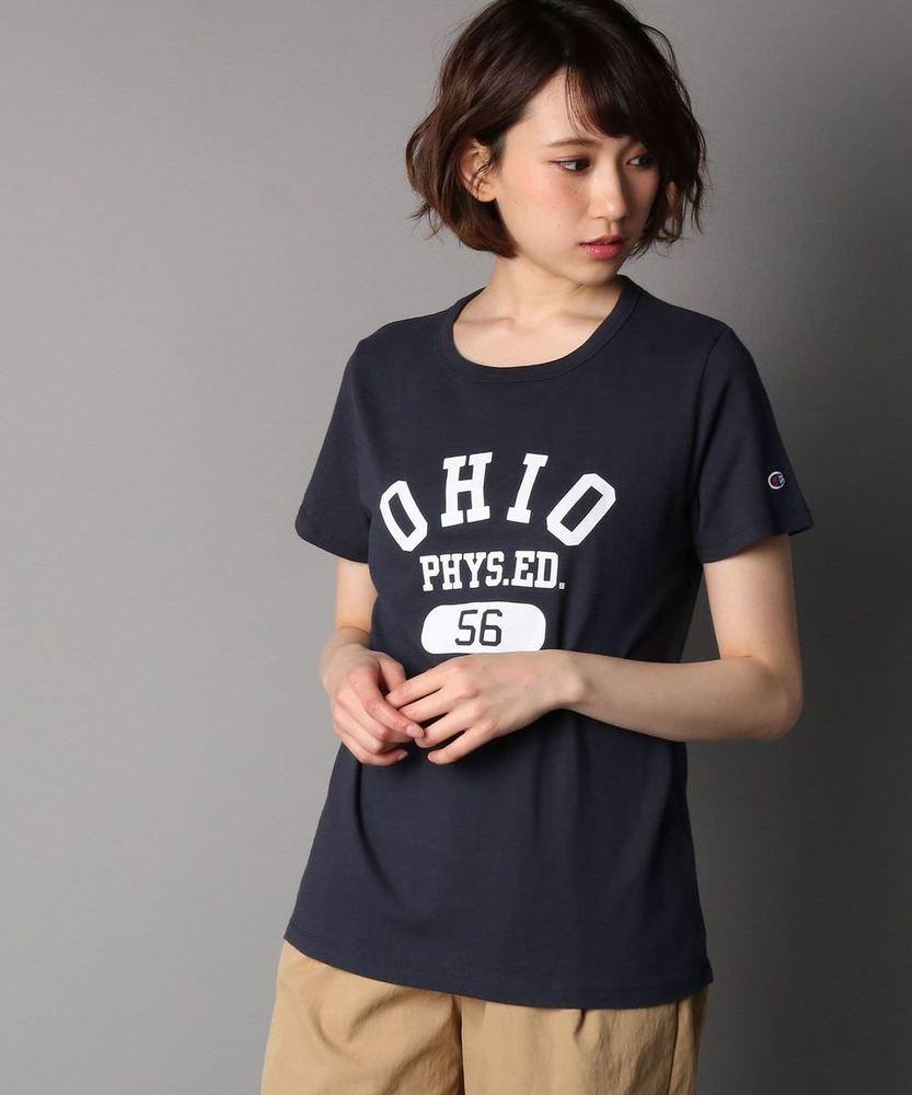 Champion プリント半袖Tシャツ レディース ネイビー