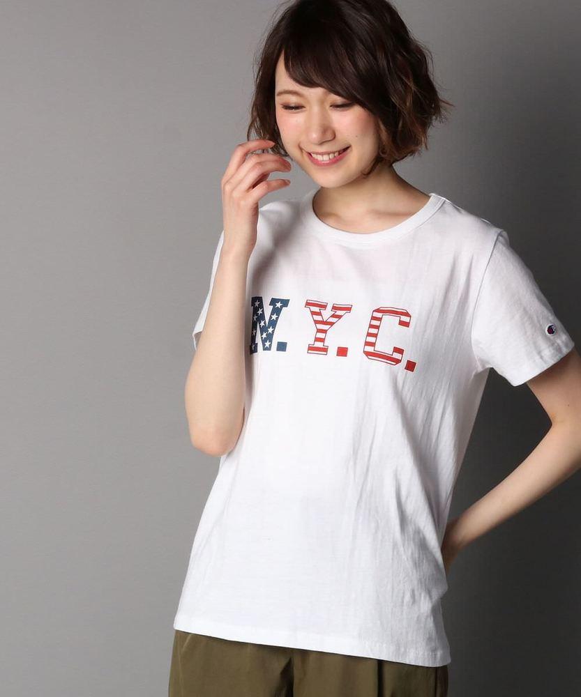 Champion プリント半袖Tシャツ レディース ホワイト