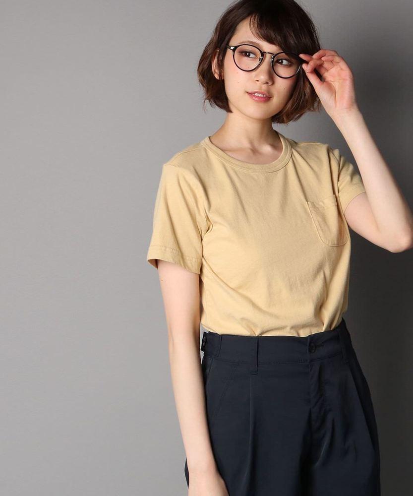 Champion ポケット付クルーネックTシャツ レディース ライトベージュ